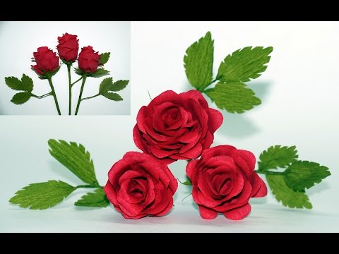 Flowers making. How to make paper flowers Rose / Crepe paper rose flower / diy paper rose/Julia DIY