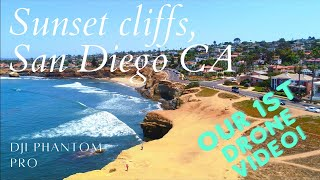 DJI Phantom Pro Drone FIRST FLIGHT over Sunset Cliffs in San Diego CA. A look at our 1st drone video