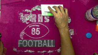 How To Make A Custom Rhinestone Football Shirt With The Rhinestone World's Sticky Flock Templates