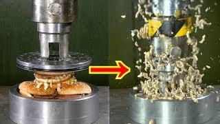 Crushing Hamburgers with Hydraulic Press | in 4K