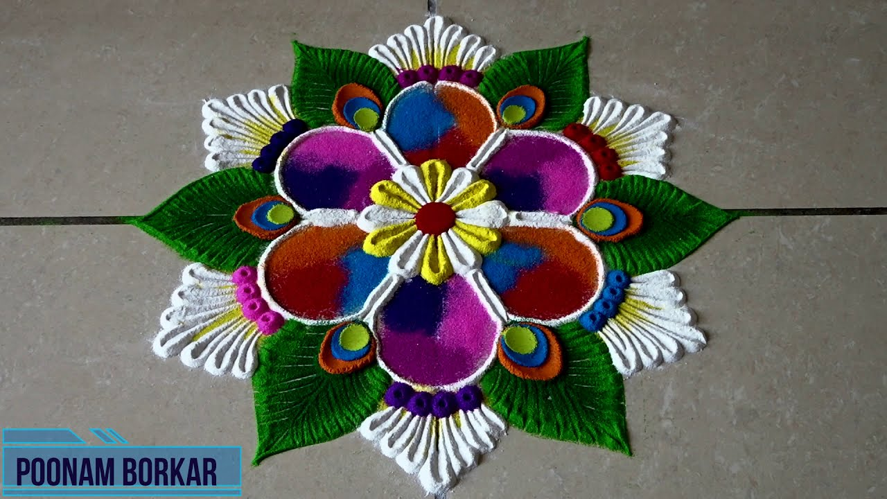 two small easy rangoli designs for beginners by poonam borkar