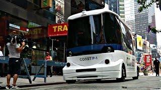 На Таймс-сквер впервые выехал автобус-беспилотник