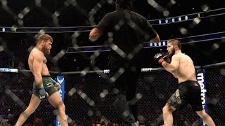 Khabib vs conor fight highlights and the reason why he jumped over the ring.