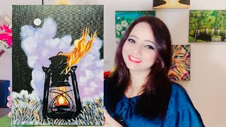 Step by Step Light Lamp Painting for Beginners | Acrylic Painting Tutorial