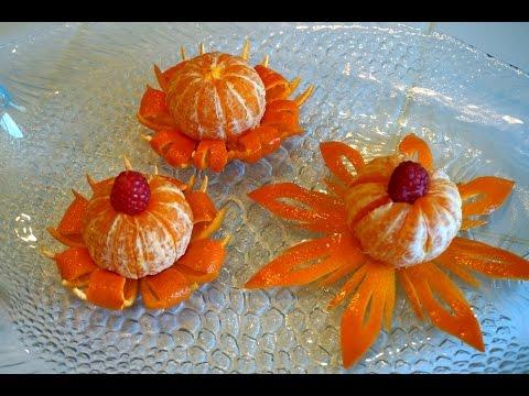 Украшения из фруктов и овощей: Цветы из мандаринов_Fruit carving: flower from mandarin