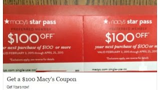 Get $100 Macy's Coupon Facebook SCAM