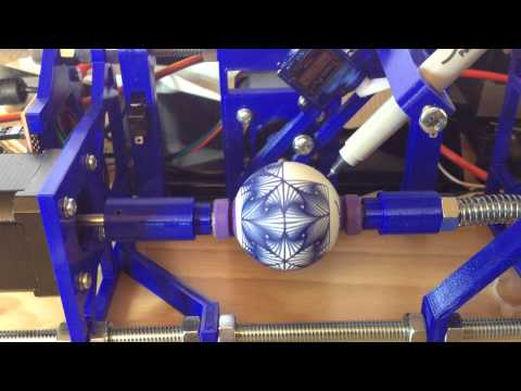 Improved Printable EggBot from Thingverse printing a design from Thingverse