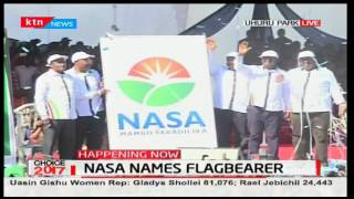 NASA principals unveil symbol their agreement at Uhuru Park