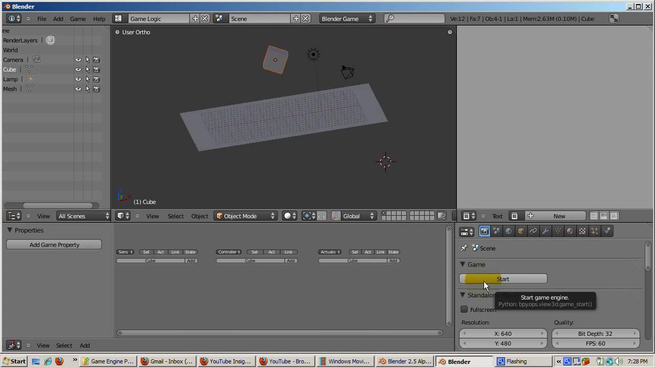 Ira Krakow's Blender Game Engine BGE 2.50 Tutorial Part 1