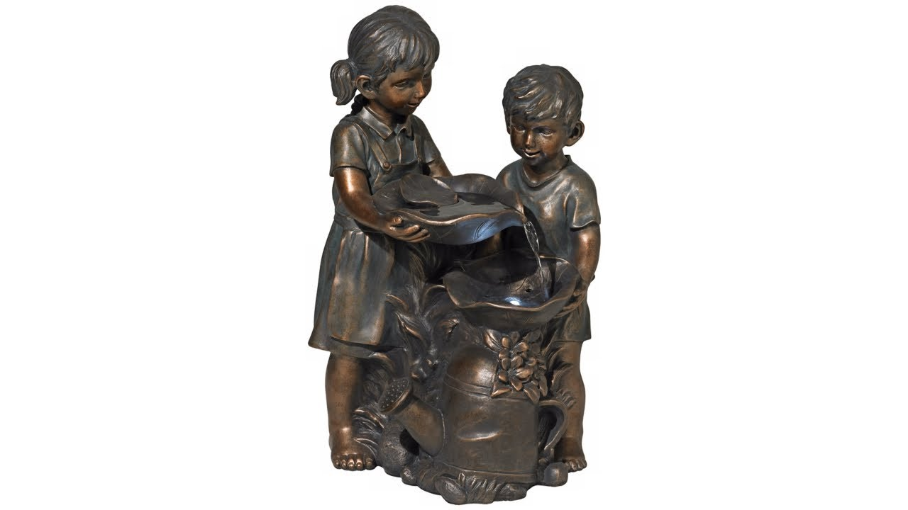 "Boy and Girl Indoor/Outdoor Bronze 23"" High Fountain"