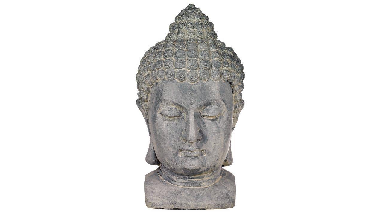 Meditating Buddha Head Outdoor Statue