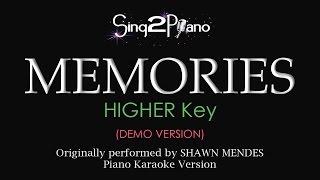 Memories (Higher Key   Piano Karaoke Demo) Shawn Mendes