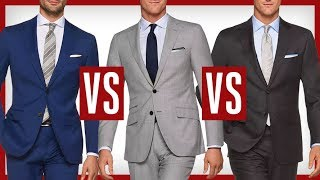 BLUE Vs GRAY Suits | Which Suit Is Better?  Charcoal Vs Black Vs Navy Vs Blue