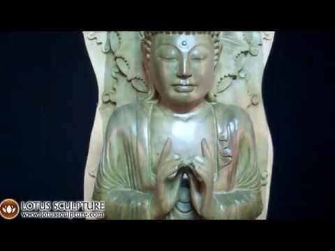 SOLD Green Hibiscus Tree Buddha Carving 40.5
