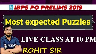 IBPS PO PRE 2019 | LIC ASSISTANT 2019 PUZZLE AND SEATING ROHIT SIR
