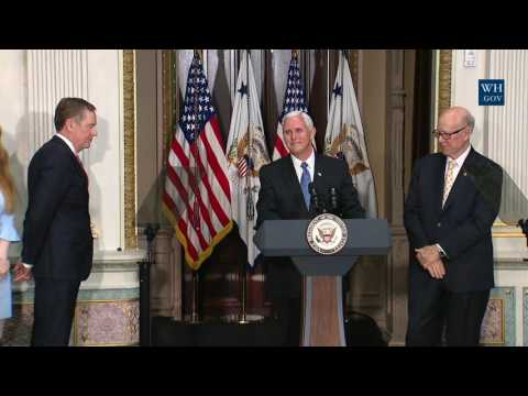 Vice President Pence Participates in a Swearing-in Ceremony for Robert Lighthizer
