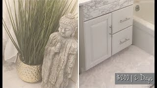MY SMALL UGLY BATHROOM MAKEOVER * DIY MARBLE FLOORS & COUNTERTOPS😍