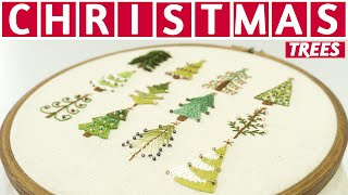 12 Hand Embroidery Designs In 10 MINUTES | Christmas Embroidery Tutorial By DIY Stitching