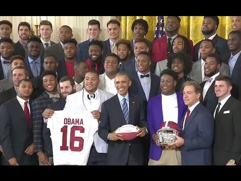 President Obama Welcomes BCS National Champion Alabama Crimson Tide