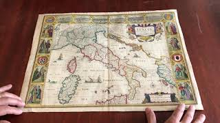 Italy Italia 1676 Speed Map Carte-a-figures City Views Beautiful Antique Map Old Color Nice Example
