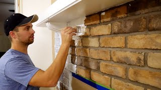 How To Whitewash Brick Fireplace | $15 DIY = HUGE Difference!