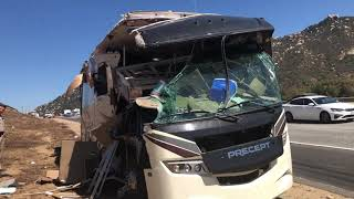 Incredible! RV Crash on Freeway Caught on Video. Solar Power system survived!