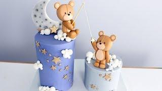 Moon And Stars Teddy Bear Baby Shower Cake! | Twinkle Twinkle Little Star Cake