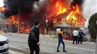 Пожар  16.03.2017 г. в поселке Лоо.