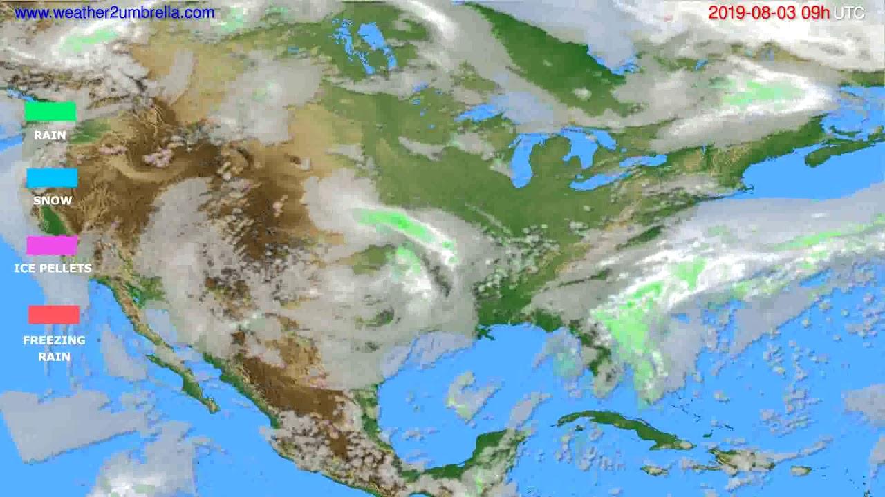 Precipitation forecast USA & Canada // modelrun: 12h UTC 2019-08-01
