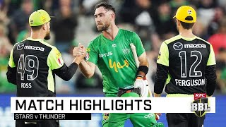 Haris Rauf set the tone with a hat-trick before Marcus Stoinis and Glenn Maxwell sealed a comfortable win for the Melbourne Stars over the Sydney Thunder