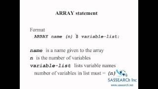 SAS Training for Beginners- Arrays