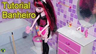 Como fazer um banheiro (balcão e pia) para boneca Monster High, Barbie, Pullip e etc