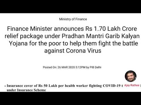 Finance Minister announces Rs 1.70 Lakh Crore relief package for Poor 26 March 2020