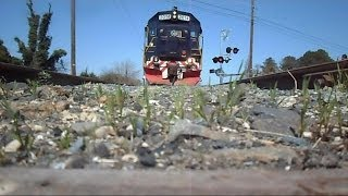 preview picture of video 'Eastern Shore Railroad Train Runs Over My Camera On Bad Track'