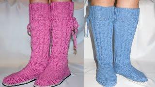 "Видео курс ""Домашние сапожки с косами"". Вязание спицами и крючком  / knitting"