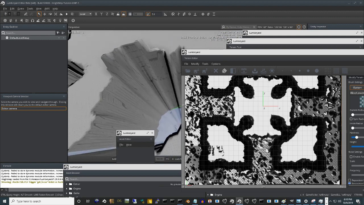 Lumberyard 1.20 &  GIMP  - Height map tutorial. Terrian Mapping.