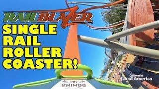 RailBlazer Roller Coaster! *REAL* Front Seat POV & Rider Cam View! California