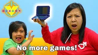 MOM STOLE MY VIDEO GAMES ! Let's Play !? Ryan's Mommy hides video games from Ryan & Daddy!
