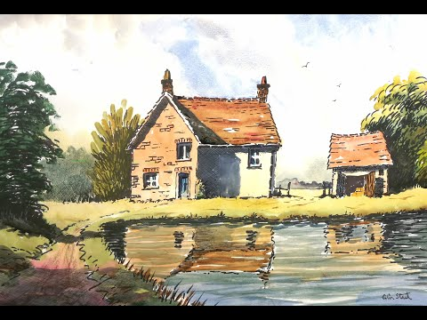 Thumbnail of Farm Buildings in Reflection.Pen and wash demonstration.