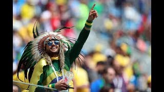 World Cup fans prepare for Brazil v Costa Rica in Moscow's fan zone