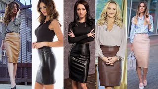 Must Have Leather Pencil Skirts Outfits For Business Womens/latest Leather Pencil Skirts Designs