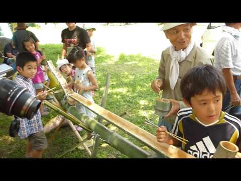 2016,7,31朴木小学校でソーメン流し2