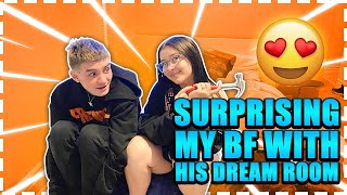SURPRISING MY BOYFRIEND WITH HIS DREAM ROOM (HE CRIED)