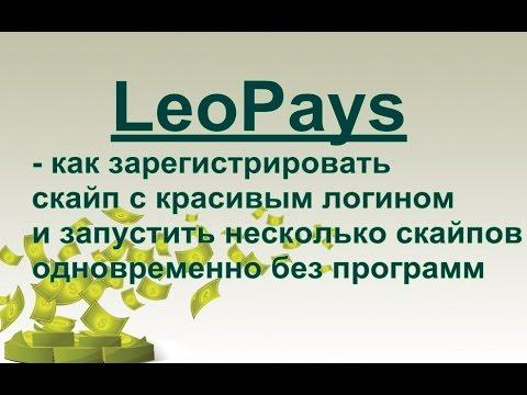 LeoPays -  Зарегистрировать скайп с красивым логином и запустить несколько скайпов одновременно