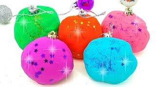 Новогодние сюрпризы. Открываем сюрпризы в шариках. Игрушки киндер сюрпризы. Учим цвета.