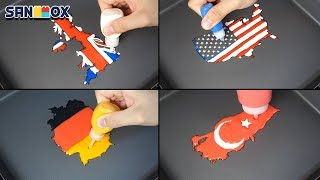 National Flag Map Pancake art - USA, United Kingdom, Germany, Turkey