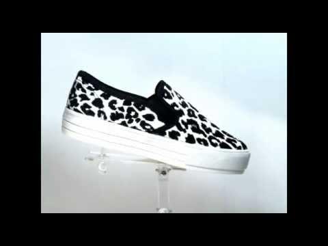 B-8856 White Leopard Print Korean style  slip-on sneakers