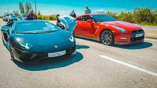 5 ПОПЫТОК ОБОГНАТЬ ЛАМБУ!  Nissan GT-R vs Lamborghini AVENTADOR vs URUS vs TESLA.