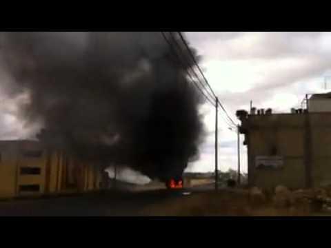 بالفيديو: احتراق جيب إسرائيلي