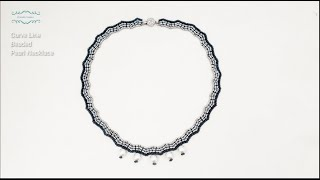 Curved Line Beaded Pearl Necklace. Beaded Jewelry Making. Beading Tutorials. Handmade